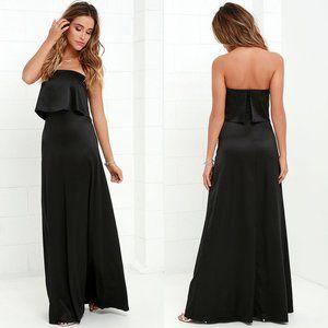Lulu's Ever So Lovely Black Satin Maxi Dress